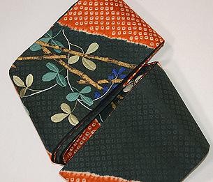 疋田に蝶の半巾帯