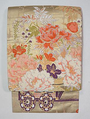花車文様唐織袋帯