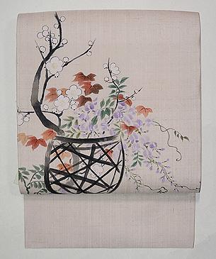 花籠の手描き名古屋帯