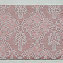 ピンク地菱紋に花籠木綿名古屋帯 前柄