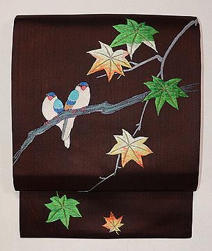 楓に小鳥の刺繍名古屋帯