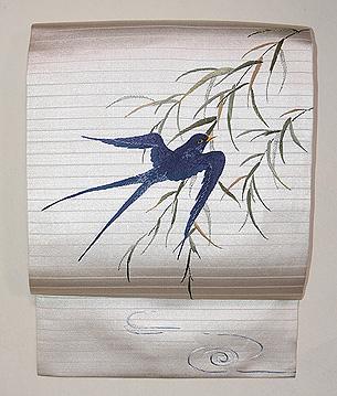 柳にツバメ刺繍の名古屋帯
