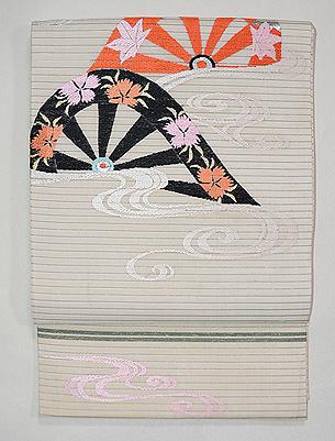 片輪車紋絽塩瀬の袋帯