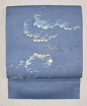 青空に綿雲文様絽紗地名古屋帯