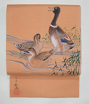 葦辺に鴨の絽名古屋帯