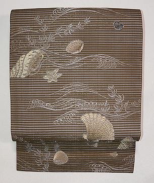 貝尽くし織り絽の名古屋帯