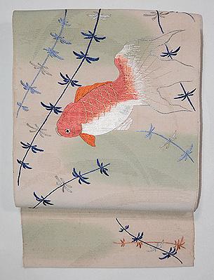 金魚の刺繍単衣名古屋帯