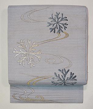 流れに海松の刺繍絽紗名古屋帯