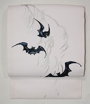 柳にコウモリ刺繍絽紗名古屋帯
