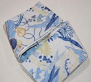 水辺文様麻の半巾帯
