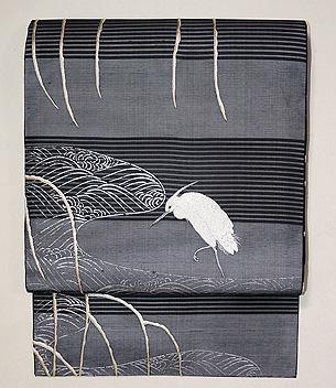 柳に白鷺刺繍名古屋帯