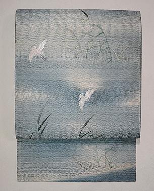 葦田に白鷺の刺繍代わり絽名古屋帯
