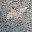 葦田に白鷺の刺繍代わり絽名古屋帯 質感・風合