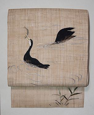 川鵜の刺繍生平麻名古屋帯
