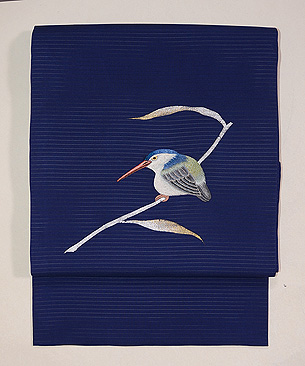 藍地翡翠の刺繍開き名古屋帯