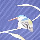 藍地翡翠の刺繍開き名古屋帯 質感・風合