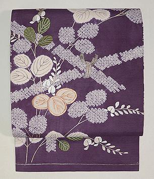 間垣に萩の図絽名古屋帯