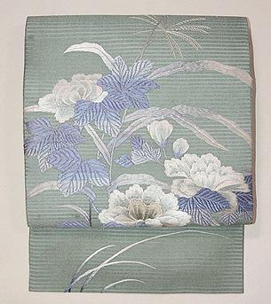 青竹色牡丹の刺繍絽の名古屋帯