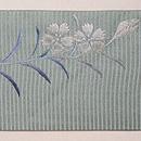 青竹色牡丹の刺繍絽の名古屋帯 前柄