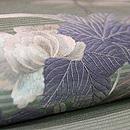 青竹色牡丹の刺繍絽の名古屋帯 質感・風合