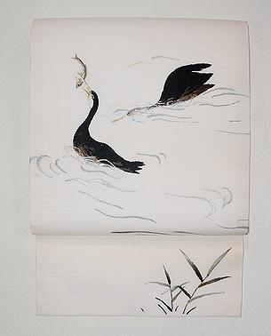 川鵜の絽紗刺繍名古屋帯