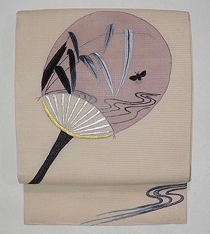 うちわ文様絽の刺繍名古屋帯