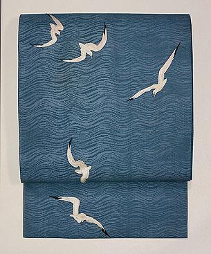 カモメの刺繍紗の名古屋帯