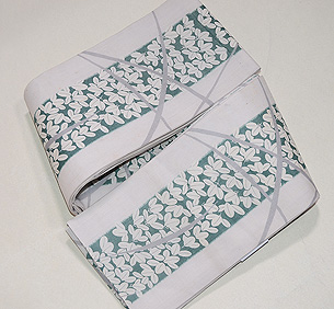 萩とナデシコ麻半巾帯