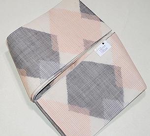 繋ぎ菱形紋麻の半巾帯