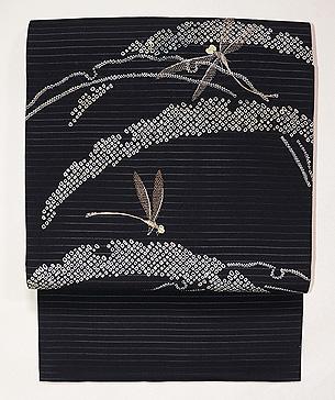 雪輪紋にトンボの絽名古屋帯