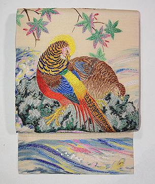 キジの刺繍の絽名古屋帯