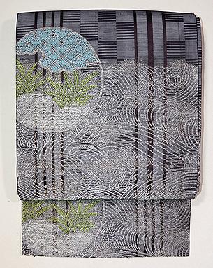 波に丸文様織の紗名古屋帯