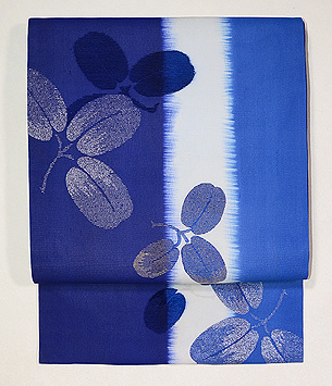 藍暈し萩模様名古屋帯