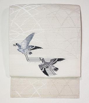 白地雀の絽紗名古屋帯