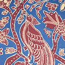 バティックの青にエンジ花食鳥図名古屋帯 質感・風合