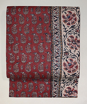 インド更紗の茜色名古屋帯