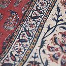 インド更紗の茜色名古屋帯 質感・風合