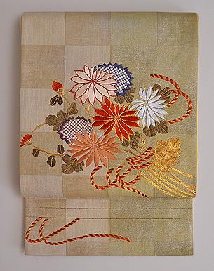 菊の花束文様袋帯