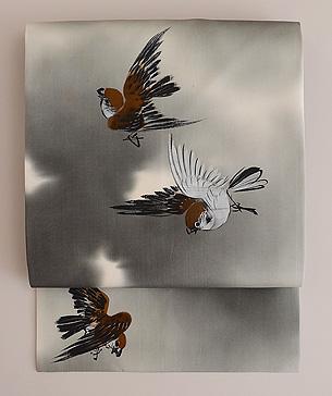 雀の描き絵名古屋帯