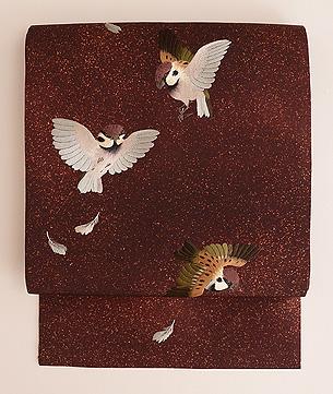茶地群れ雀の刺繍名古屋帯