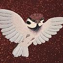 茶地群れ雀の刺繍名古屋帯 質感・風合