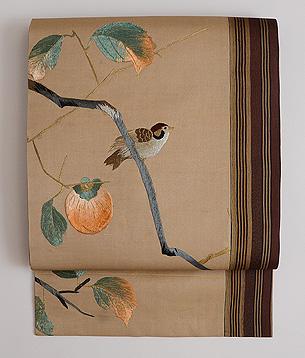 柿の木に雀の刺繍名古屋帯
