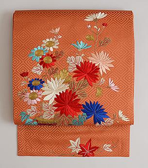 菊の花かご刺繍名古屋帯