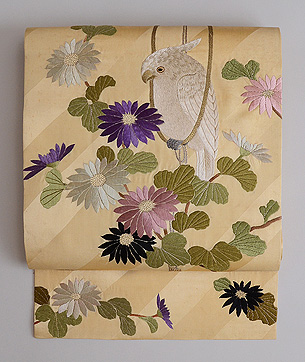 オウムの刺繍名古屋帯