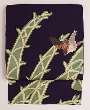 竹に雀の名古屋帯