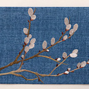 ブルー紬にネコ柳の刺繍名古屋帯 前柄