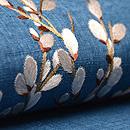 ブルー紬にネコ柳の刺繍名古屋帯 質感・風合
