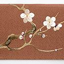 梅柄の刺繍名古屋帯 前柄