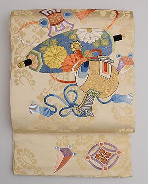 おもちゃ尽くし刺繍の袋帯