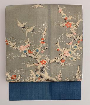 梅木に鶴の着物崩し名古屋帯